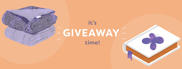 """Image says """"It's Giveaway Time!"""" with an illustration of a weighted blanket and a book with a butterfly on the cover."""