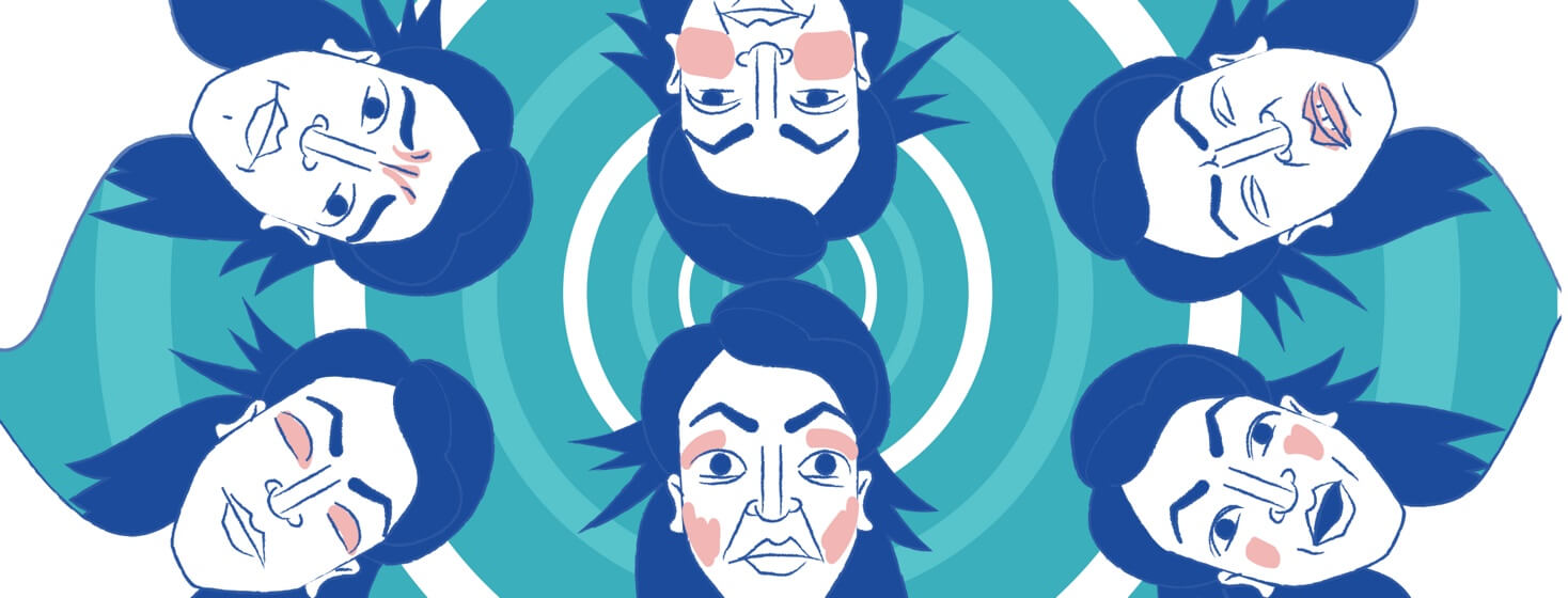 GENERIC VERSION OF: six faces of the same woman showing a range of emotions: Scared asleep worried in pain, agony, irritation, misery, discomfort, complacent, happy, apprehension, concern, doubt, fear, misery, vexation, anesthesia, surprise
