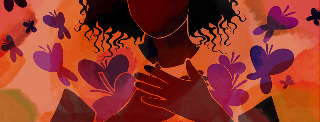 A woman clutches her heart while purple butterflies explode out from beneath her loving hands.