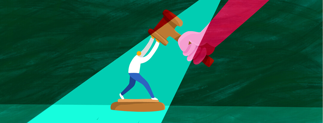 A person stands on a podium and pushes against a gavel being brought down by a giant hand.