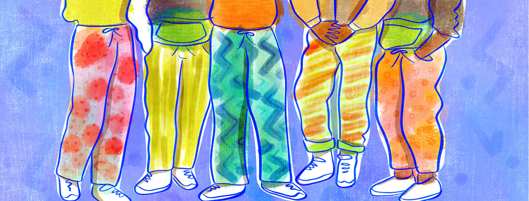 Five pairs of legs are shown wearing colorful skidz pants.