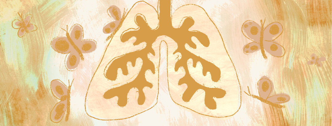 A pair of lungs filled with fluid and butterflies flying around it.
