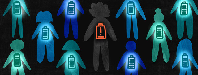 A pattern of people with battery icons on their chests. All have full batteries except for the patient in the middle with a red exclamation point and one tick mark of energy left.