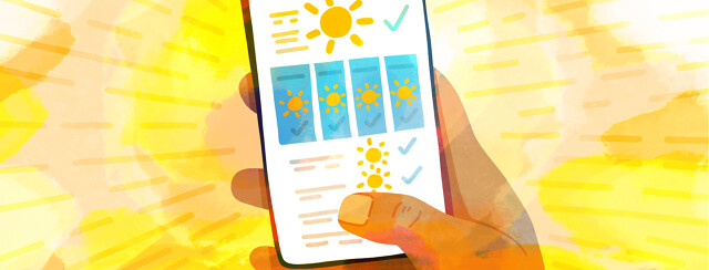 A hand holding a smartphone showing a weather forecast with bright shining suns every day.