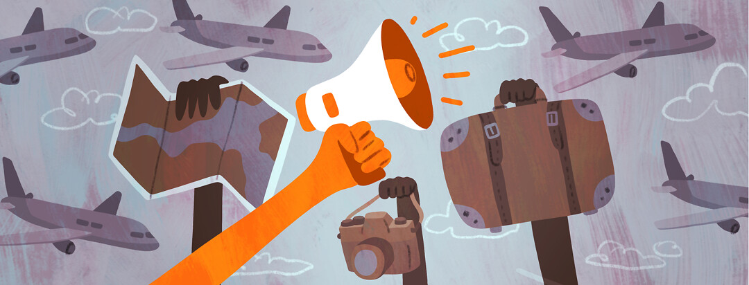 Various hands hold up vacation items including a map, camera, and luggage with planes flying in the background. In the foreground, a hand holds a megaphone triumphantly.