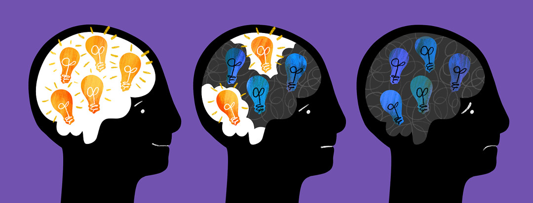 Three heads are shown - one has all lightbulbs lit, the second has 2 out of 5 lit, and the third has all lightbulbs out in the brain.