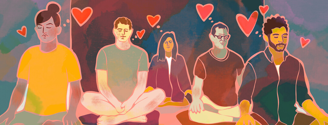 A group of diverse people sit meditating in a studio.