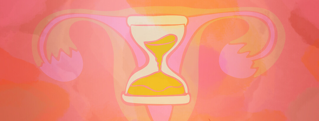 An hourglass is shown in front of a uterus.
