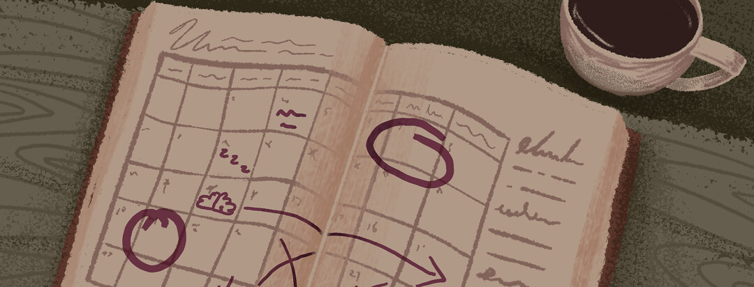 An agenda book with scribbles showing a weekly routine being adjusted.