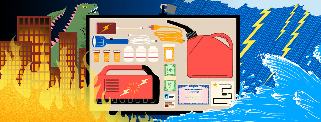 A preparedness kit against a background of natural disasters.