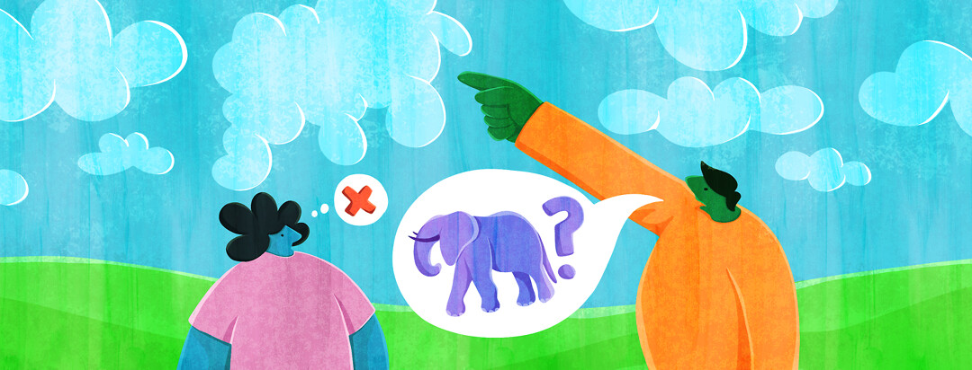 A man points at a cloud in the sky, and a speech bubble with an elephant and a question mark comes from his mouth. A woman looks blankly at him and has a thought bubble showing a red x.