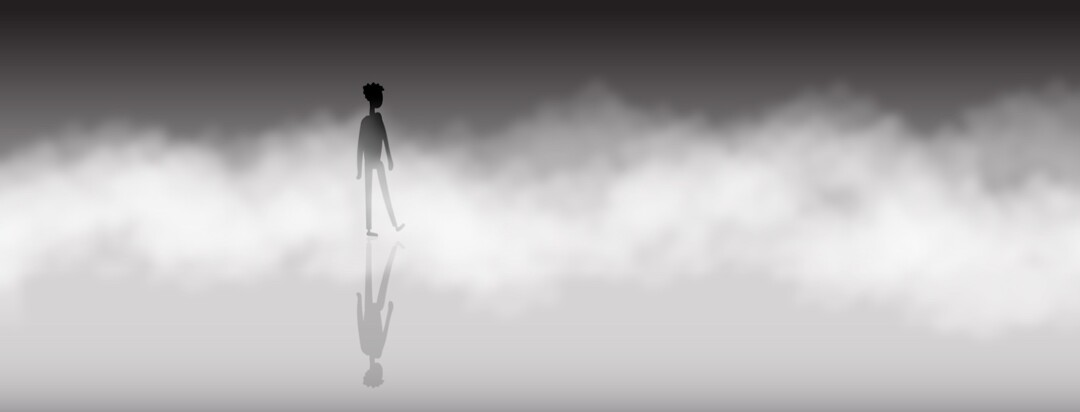 Person walking in fog. Unknown, mystery