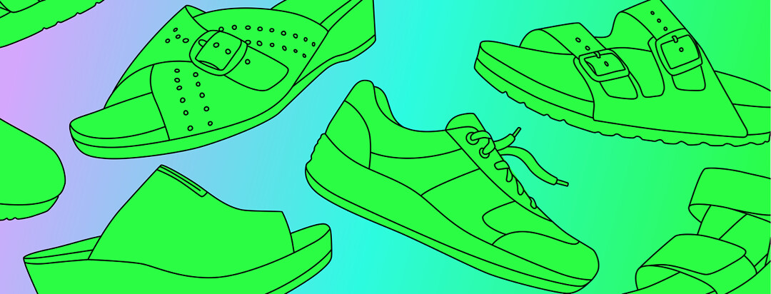 An assortment of shoes.